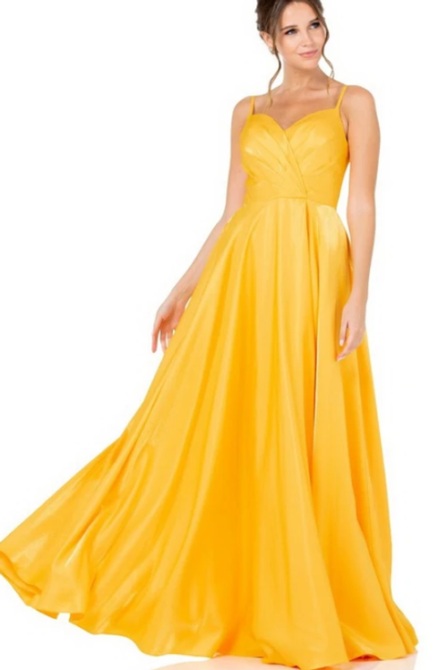 Sleeveless A-Line Sweetheart Slit Crepe Gown W/ Sheen