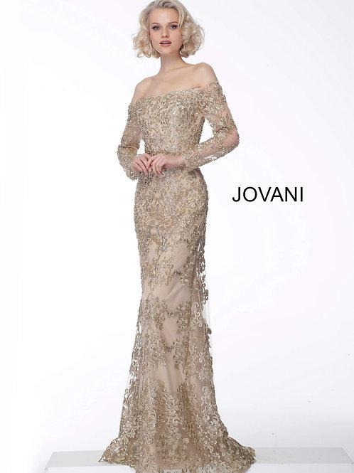 Gold Off the Shoulder Long Sleeve Evening Dress 60944