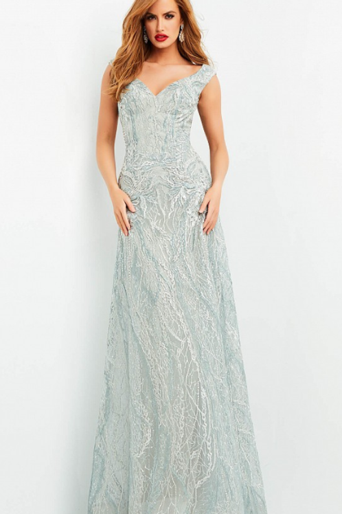 Jovani 04450 Light Green EmbroideredGown