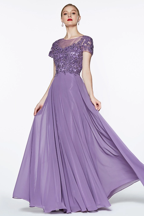 Scoop illusion Neckline Short Sleeves Beaded A-line Gown