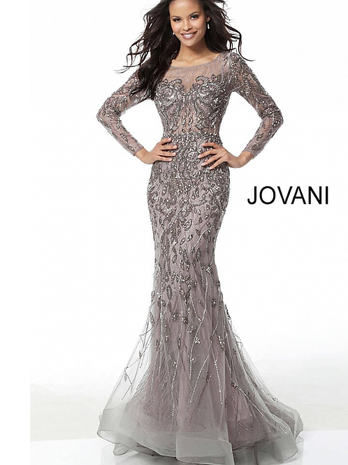 Mauve Beaded Long Sleeve Sheer Back Evening Dress 58110