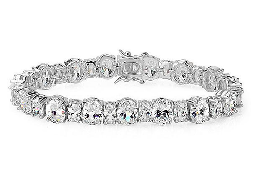 Oval Crafted White Sapphire Bracelet