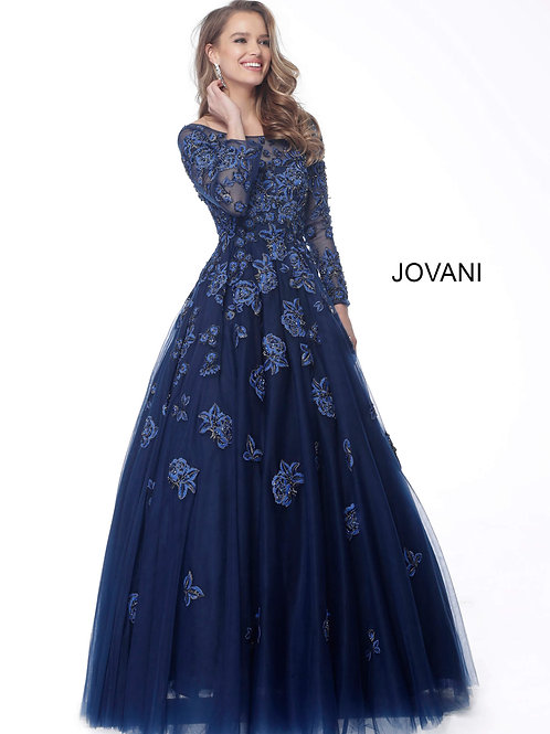 Royal Long Sleeve Boat Neck Evening Gown 57127