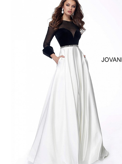 Ivory Black Sheer Neck Long Sleeve Evening Gown 62124