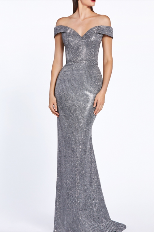 Cinderella Divine Off The Shoulder Gown With Metallic Finish