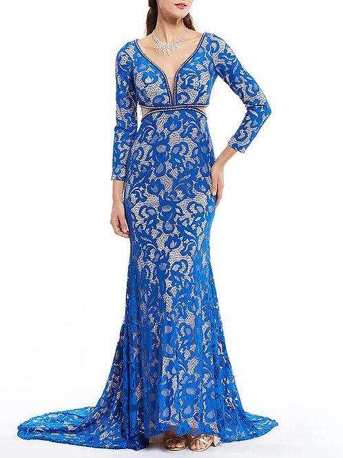 Deep V-neck Mermaid Floor Evening Dress