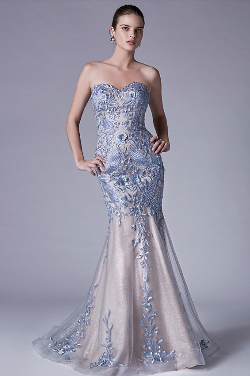 Andrea & Leo Elegant Strapless Sweetheart Lace Mermaid Gown