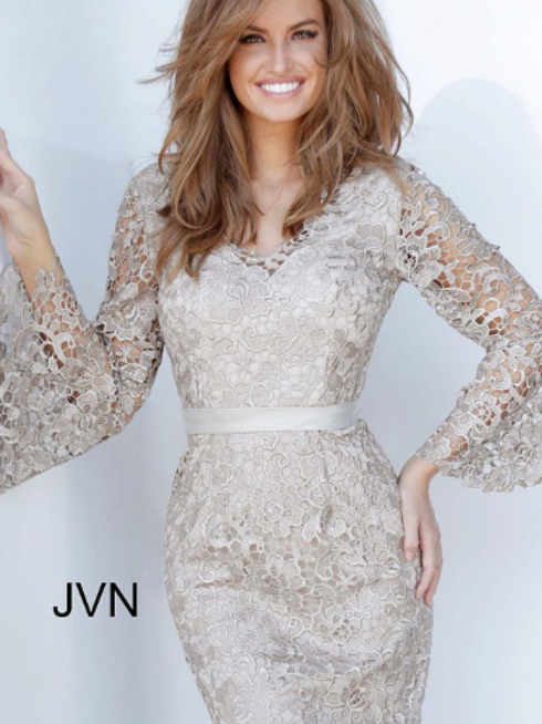 JVN68072 Bell Sleeve Lace Evening Dress