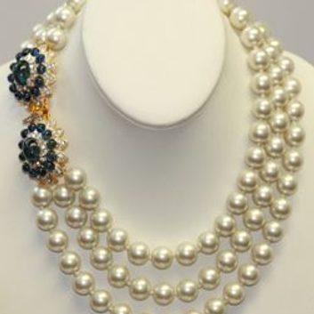 Barbara Bush 3 Row Pearl Necklace With Flawed Sapphire Clasp
