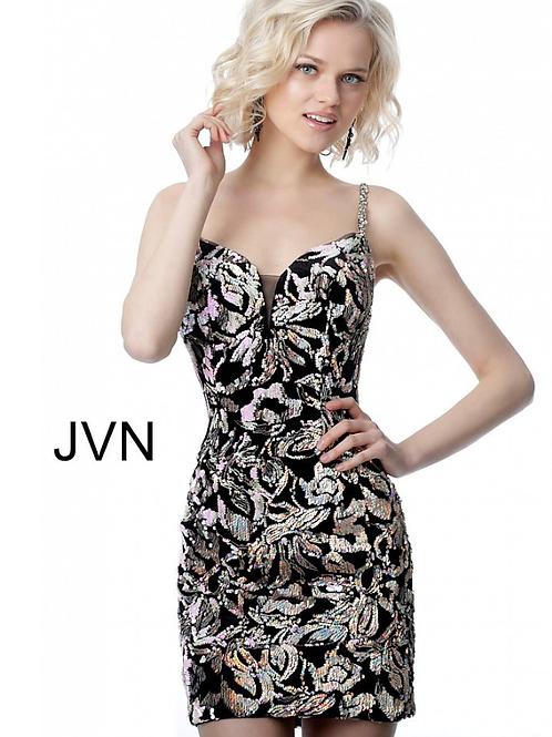 JOVANI Black Multi Plunging Neckline Embellished Short DressJVN24731