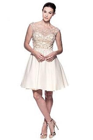 Bateau Neckline Cap Sleeveless Beaded Sheer Dress