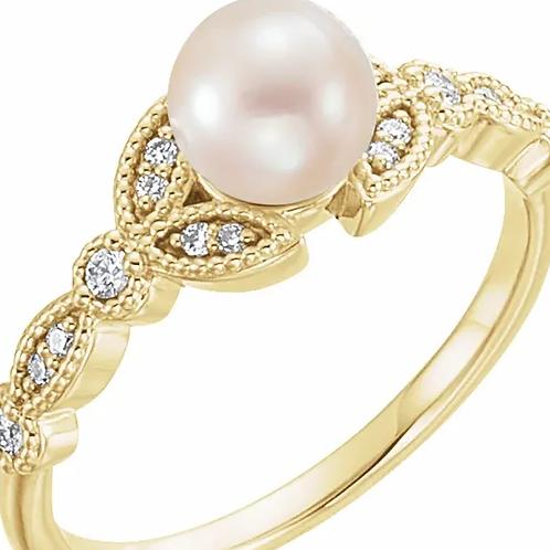 14K Yellow Freshwater Pearl & 1/10 CTW Diamond Leaf Ring