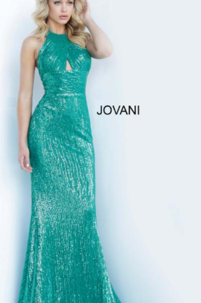 JOVANI Emerald Halter Neckline Sequin Dress 1270