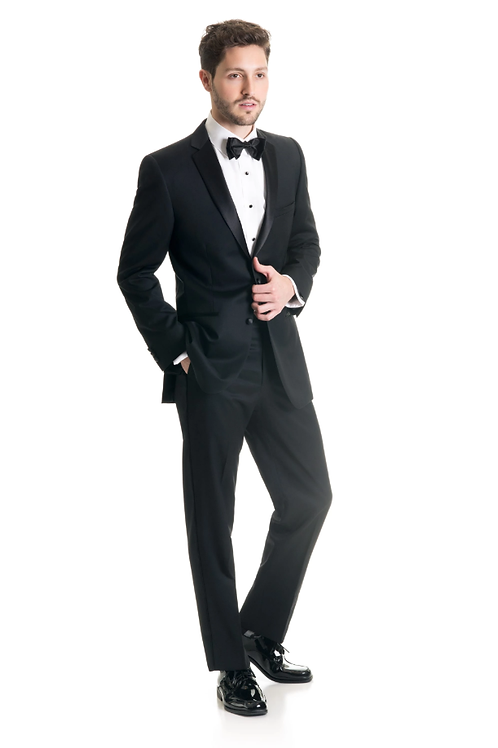 Black Slim Fit Tuxedo Coat - Super 120's