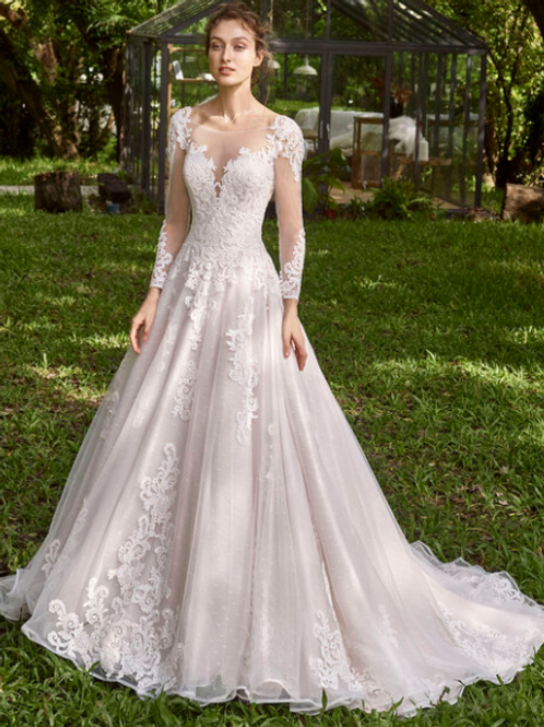 Mignon Manley Lace Bridal Gown Hand Embellished Lace Gown