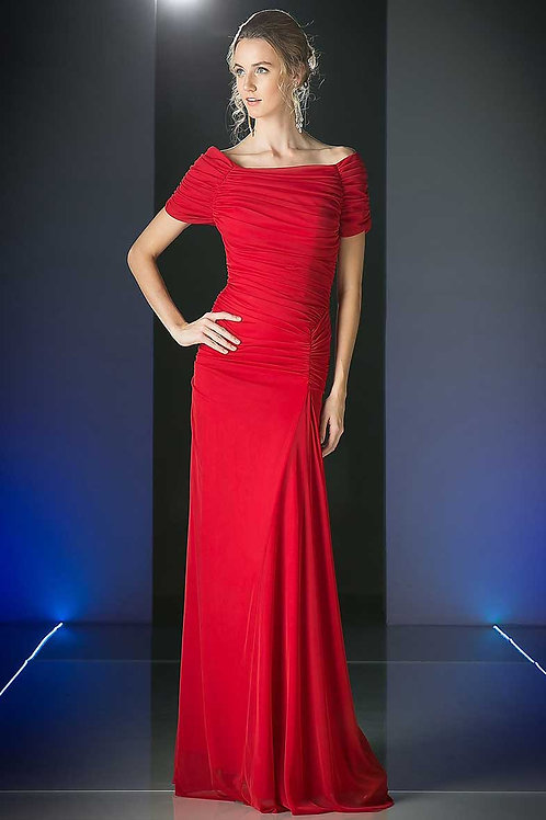 Evening Dress with Ruched Bodice