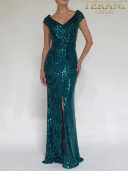 TERANI COUTURE Sequined Hunter Green Dress 2021M2980
