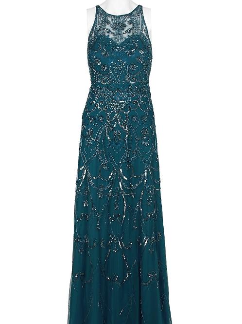 Aidan Mattox Halter Neck Embellished Mesh Dress