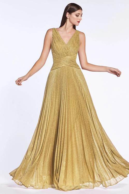 Mignon Manley V-Neckline Sleeveless Long Evening Gown