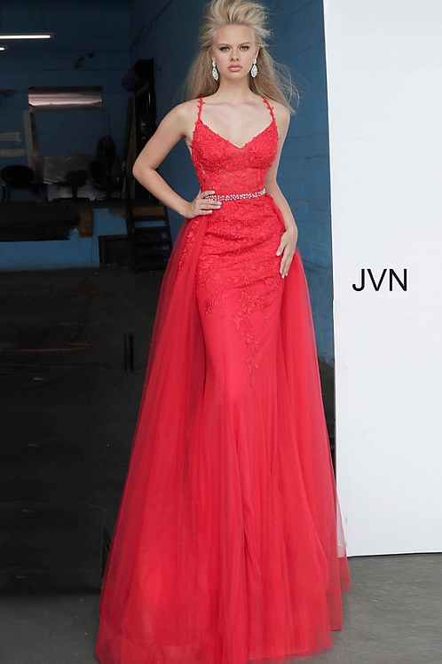 JVN02260 Red Embellished Belt V Neck Lace Gown