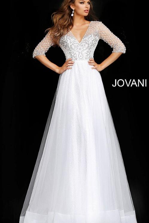 JOVANI Off White Three Quarter Sleeve Embellished Wedding Gown JB68168