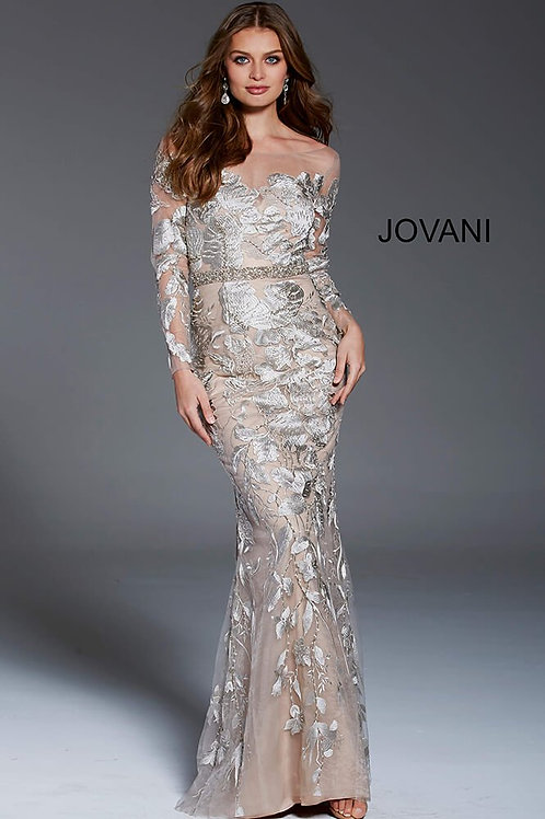 Champagne Embroidered Long Sleeve Evening Dress 55707