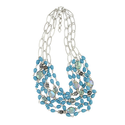 Necklace With Attitude Blue Multi