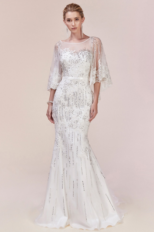 Mignon Manley Lace Embellished Cape Bridal Gown