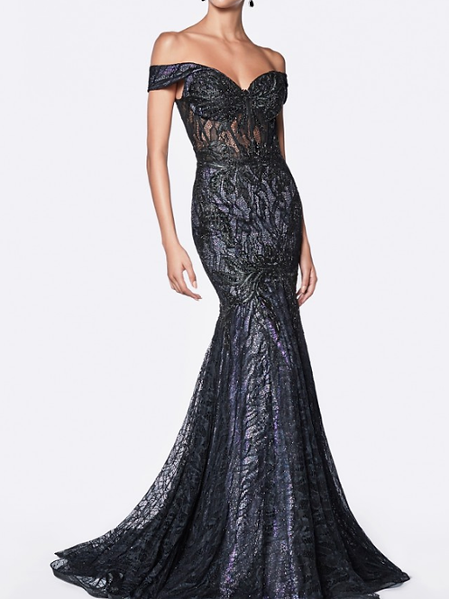 Lace Off The Shoulder Fitted Mermaid Gown With Lilac & Black