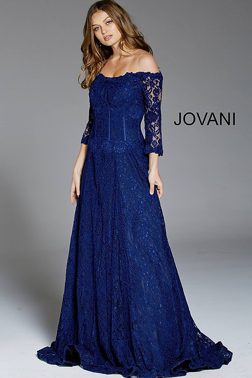 Navy Three Quarter Sleeve Lace Evening Gown 52145