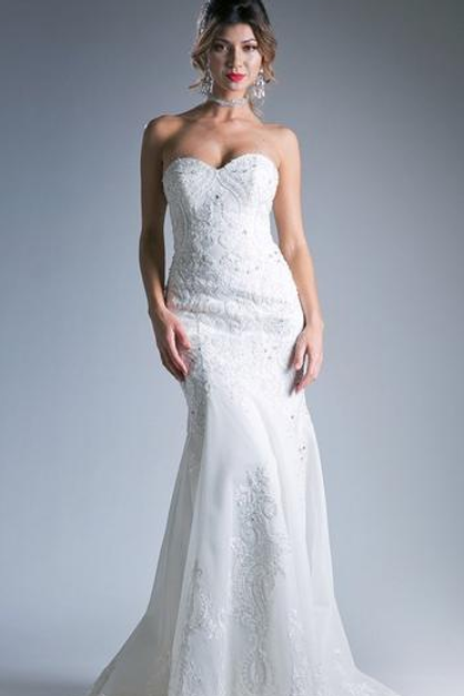Mignon Manley Embroidered Sheath Novelty Long Wedding Gown