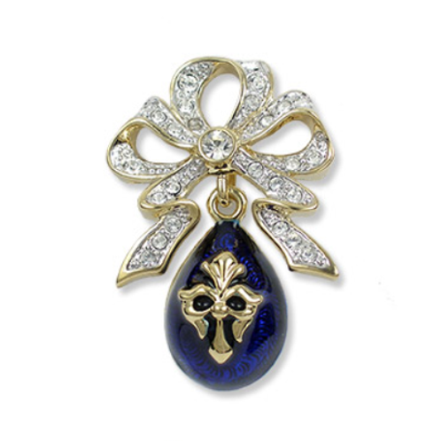 Imperial Bow with Blue Fleur Egg Brooch