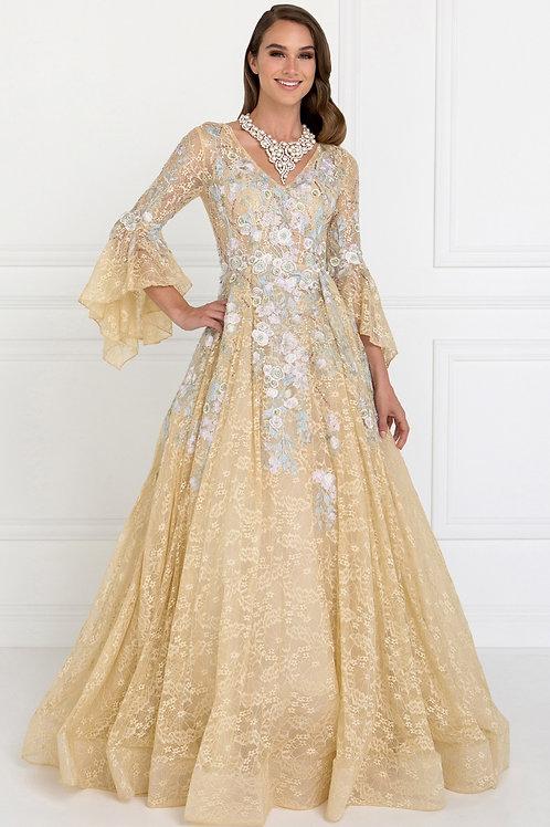 Amazing Long Designer Wedding Gown With V-neck