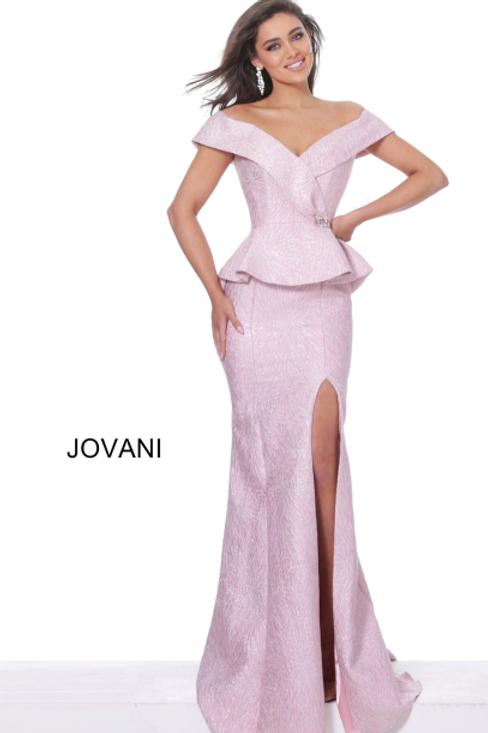 Jovani 03944 Rose Off the Shoulder High Slit Evening