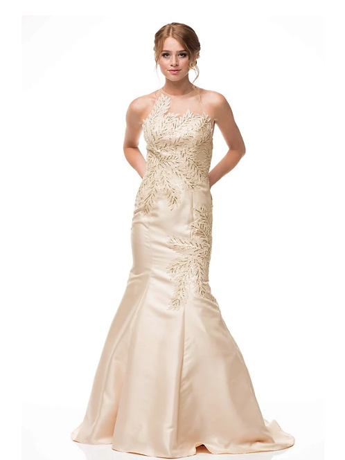 GOLD Sleevelss Mermaid Mikado Beaded Gown W Crystals