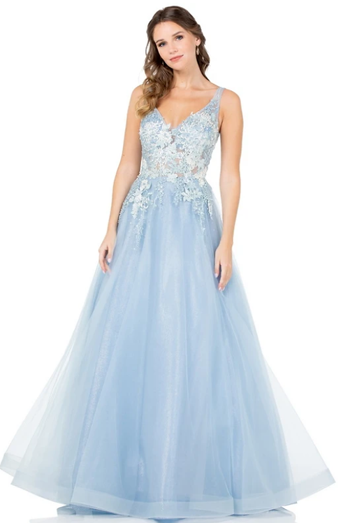 V-NeckSleeveless Ball Gown