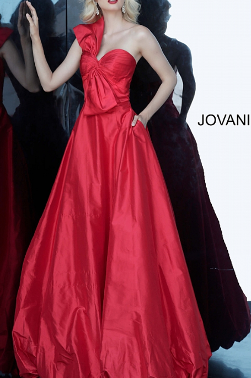 JOVANI Red Strapless Pleated Bodice Evening Ballgown 66320