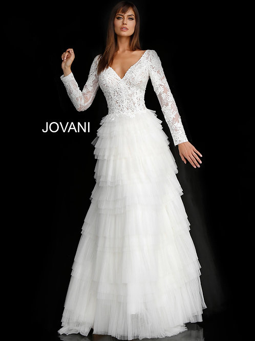 Off White Lace Long Sleeve Bodice Bridal Dress JB65932