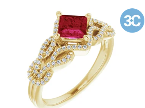 14K Yellow Chatham® Created Ruby & 1/5 CTW Diamond Ring