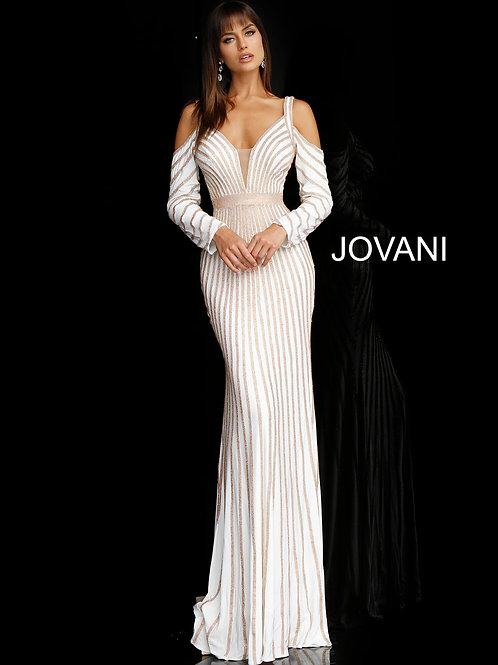 White Gold Beaded Long Sleeve Evening Dress 55212