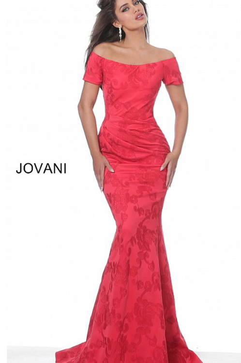 Jovani 02750 Red Short Sleeve Boat Neck Evening Dress