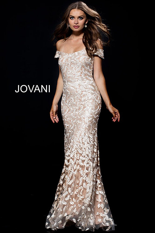 Gold Off the Shoulder Embroidered Evening Dress 49634