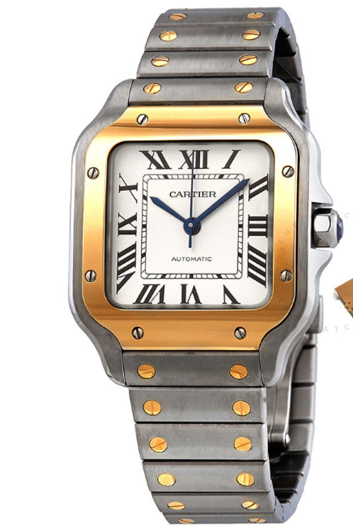 CARTIER Men's Santos Stainless Steel and 18kt Yellow Gold Silvered Opaline Dial