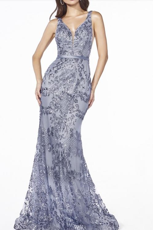 Fitted Dress W Glitter Print Details & Deep Plunging Neckline