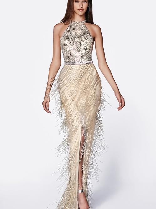 Stunning Flapper Beaded Fringe High Neck Gown
