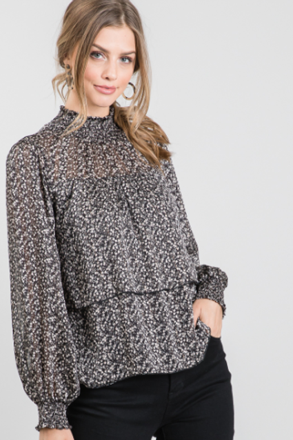 Long Sleeve Mock Neck Tiered Printed Lurex Blouse.