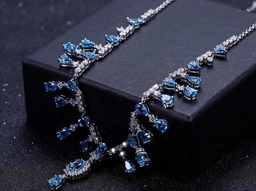 Natural Swiss Blue Topaz Gemstones 925 Sterling Silver Necklaces