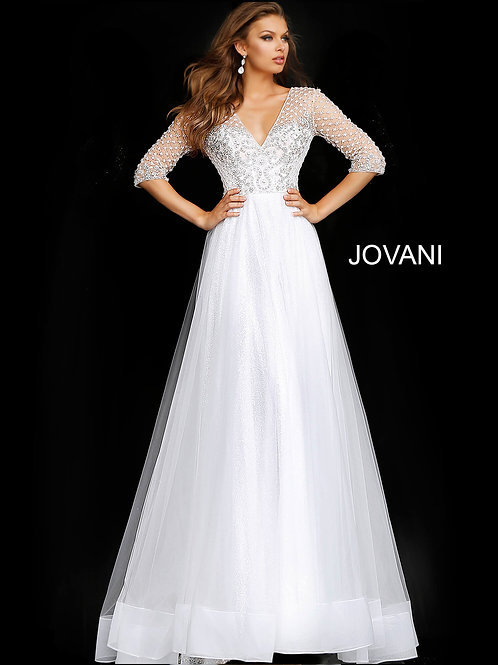 Off White Three Quarter Sleeve Embellished Wedding Gown JB68168