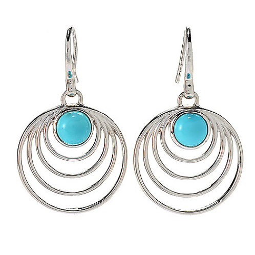 """Sterling Silver 1.5"""" Round Campitos Turquoise Drop Earrings •"""