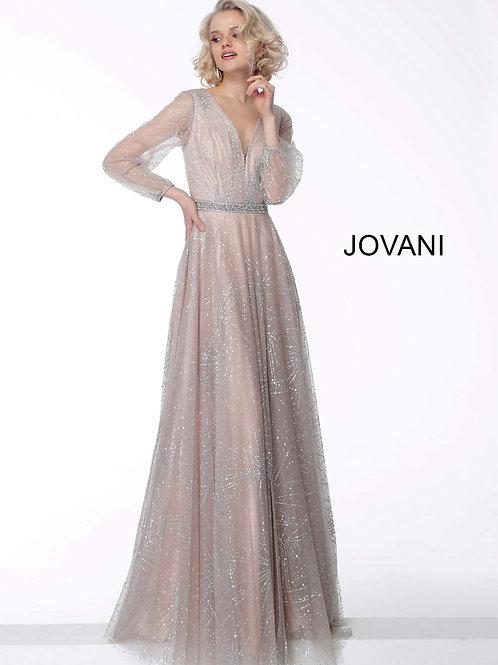 Nude Long Sleeve V Neck Evening Dress 65658